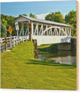 Halls Mill Covered Bridge Landscape Wood Print