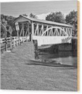 Halls Mill Covered Bridge Landscape Black And White Wood Print