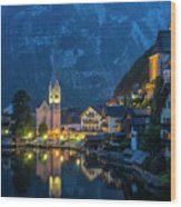 Hallstat Village Wood Print