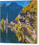 Hallstatt In Fall Wood Print