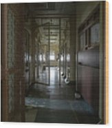 Hallway With Solitary Confinement Cells In Prison Hospital Wood Print