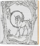 Haloed Unicorn In The Woods Wood Print