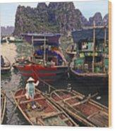 Halong Bay Harbor Scene Wood Print