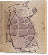 Ham-grenade Wood Print by Joe Dragt