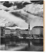 Hamburg At Sunset Wood Print