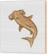 Hammerhead Shark Drawing Wood Print