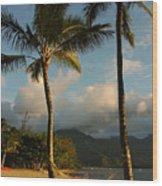 Hammock Between Palms Wood Print