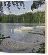 Hammock On Lake Winnipesaukee, Nh Wood Print