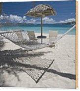 Hammock On The Beach Wood Print