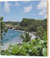 Hamoa Beach Tropical Hana Maui Hawaii Waves And Surfers Wood Print