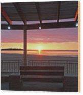 Hampton Beach Sunrise Hampton Beach State Park Hampton Nh Bench 2 Wood Print