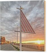 Hampton Beach Sunrise Hampton Beach State Park Hampton Nh Flag Wood Print