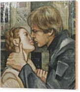 Han And Leia Wood Print