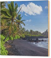 Hana Bay Palms Wood Print by Inge Johnsson