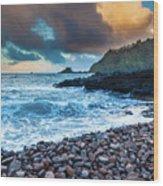 Hana Bay Pebble Beach Wood Print