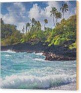 Hana Bay Waves Wood Print