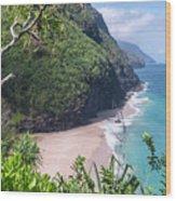 Hanakapiai Beach - Kalalau Trail - Kauai Hawaii Wood Print