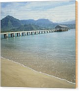 Hanalei Bay And Pier Wood Print