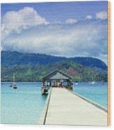 Hanalei Bay And Pier Wood Print