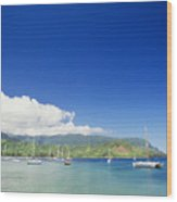 Hanalei Bay Coastline Wood Print