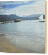 Hanalei Bay Outrigger Wood Print
