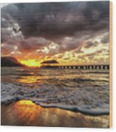 Hanalei Pier Reflections Wood Print