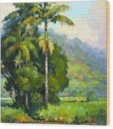 Hanalei River Moonrise Wood Print