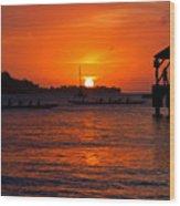 Hanalei Sunset Wood Print by Mike  Dawson