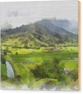 Hanalei Valley Wood Print