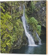 Hanawai Waterfall Wood Print