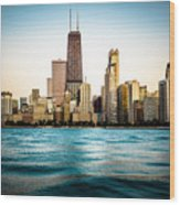 Hancock Building And Chicago Skyline Photo Wood Print by Paul Velgos