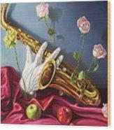 Hand And Sax Wood Print