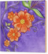 Hand Drawn Pencil And Watercolour Flowers In Orange And Purple Wood Print