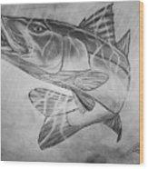 Hand Drawn Snook  Wood Print