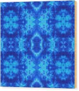 Hand-dyed Blue And Turquoise Fabric With Zig Zag Stitch Details  Wood Print