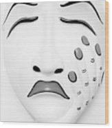 Hand On Face Mask B W Wood Print