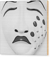 Hand On Face Mask Black White Wood Print