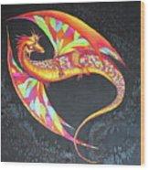 Hand Painted Silk Scarf Dragon On Black Wood Print