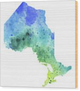 Hand Painted Watercolor Map Of Ontario, Canada In Blue And Green  Wood Print