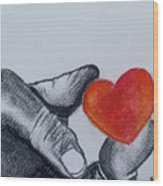 Hand With Heart Wood Print