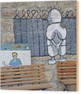 Handala And The Wall Wood Print