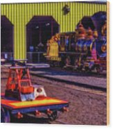 Handcar And Old Train Wood Print