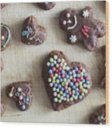 Handmade Decorated Gingerbread Heart And People Figures Wood Print