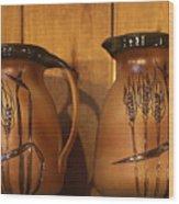 Handmade Pottery Pitchers Wood Print by Linda Phelps