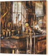 Handyman - Messy Workbench Wood Print