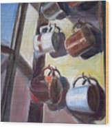 Hanging Cups Wood Print