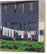 Hanging Laundry Wood Print