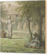 Hanging Out The Laundry By Jean-francois Millet Wood Print