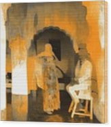 Hanging Out Travel Exotic Arches Orange Abstract Square India Rajasthan 1c Wood Print