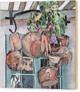 Hanging Pots And Pans Wood Print